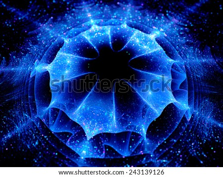 Blue glowing wormhole, computer generated abstract background - stock photo
