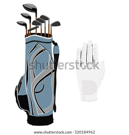 Blue golf clubs bag, sport equipment, white gloves - stock photo