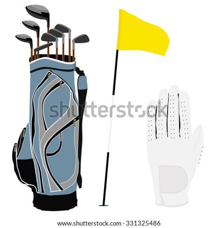 Blue golf clubs bag, sport equipment, white gloves, golf flag - stock photo