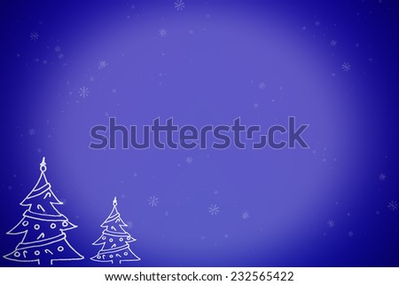 Blue gradient background with snow flakes and Christmas trees  - stock photo
