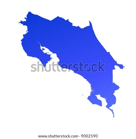 Blue gradient Costa Rica map. Detailed, Mercator projection. - stock photo