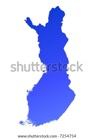 Blue gradient Finland map. Detailed, Mercator projection.