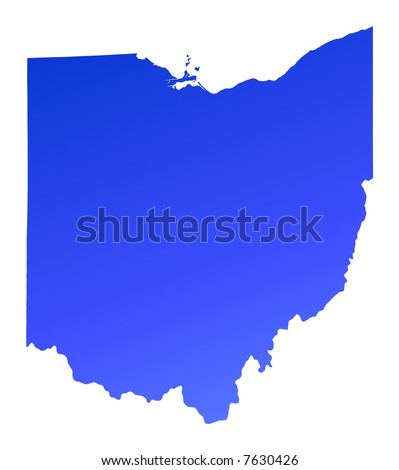 Ohio Usa Light Blue Map Shadow Stock Illustration - Map usa ohio