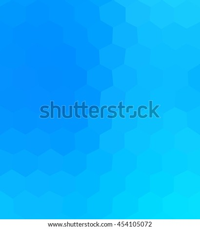Blue gradient shiny tile with soft fine hexagon mosaic pattern - stock photo