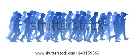 blue gradient silhouette of a big group of people men and women running
