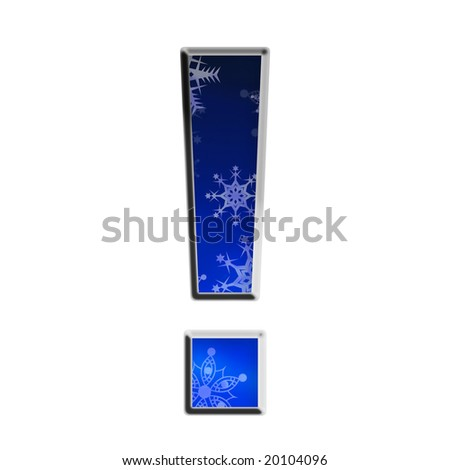 Blue gradient snowflake exclamation point
