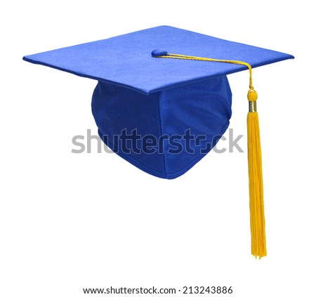 Blue Graduation Hat with Gold Tassel Isolated on White Background. - stock photo