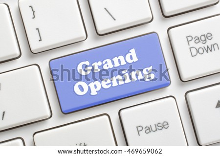 Blue grand opening key on keyboard