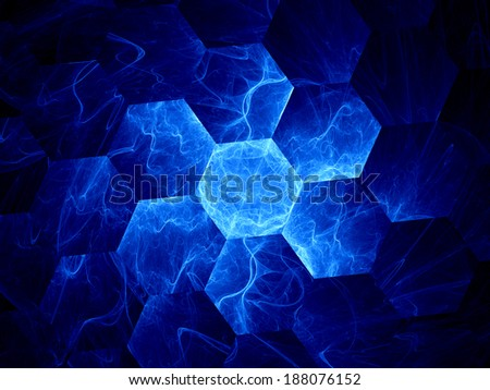 Blue graphene grid, computer generated abstract background - stock photo