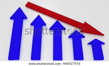 Blue graphic arrows pointing up and a red arrow shows decrease on white background. Financial chart. From high to low. 3D illustration - stock photo