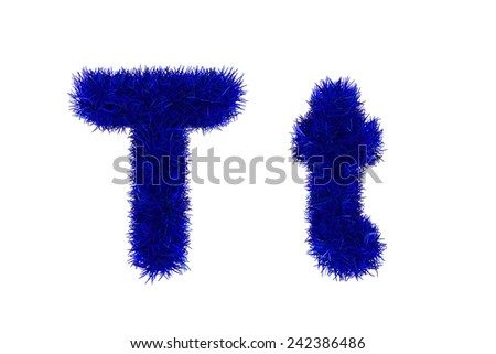 blue grass letters, upper and lowercase  - stock photo