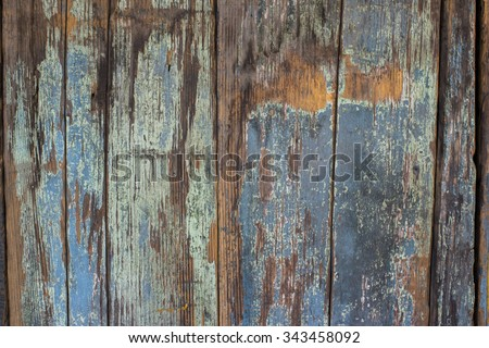 Blue gray color mottled paint efflorescent chap decadent wooden close-up