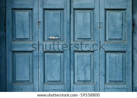 Blue Greek door - stock photo