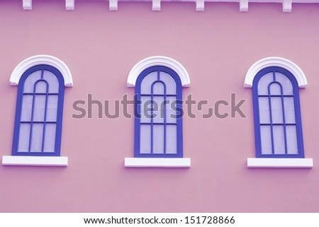 blue greek style window. - stock photo