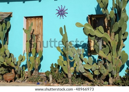"blue-green adobe in the ""Barrio Historico,"" Tucson - stock photo"
