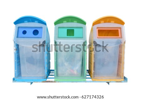 blue green and orange plastic garbage bin isolated on white background this picture has