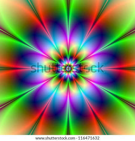 Blue Green and Red Flower/Digital abstract image with a flower design in blue, green and red.