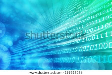 Blue green background binary code zero & one - stock photo