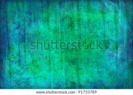 Blue-green grunge background - stock photo