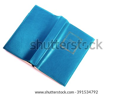 Blue green leather diary notebook with  isolated on white background - stock photo