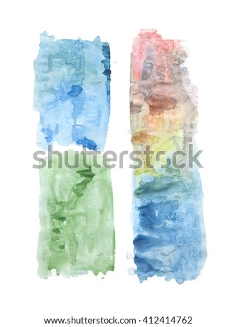 Blue, green, red and yellow abstract hand painted watercolor stains, abstract watercolor backgrounds with grunge texture, watercolor wash - stock photo