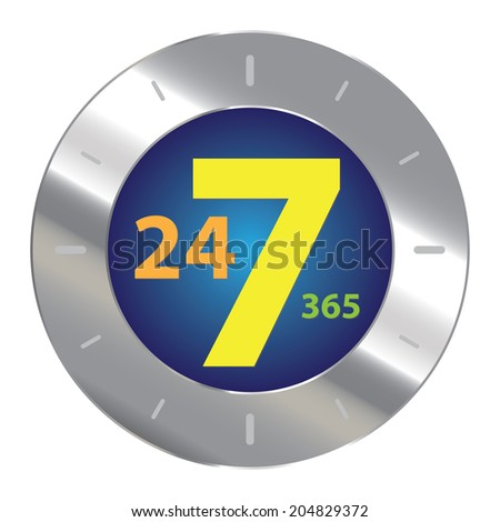Blue Green Silver Metallic 24 Hours A Day, 7 Days A Week, 365 Days A Year Icon, Button, Sticker or Label Isolated on White Background - stock photo
