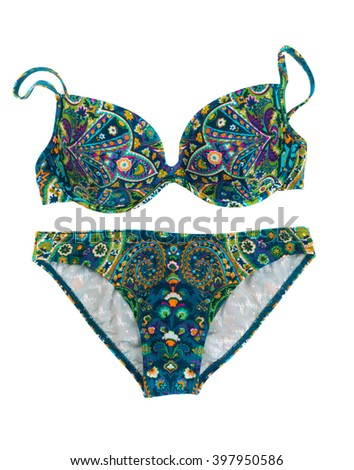 Blue-green swimsuit with a pattern. Isolate on white. - stock photo
