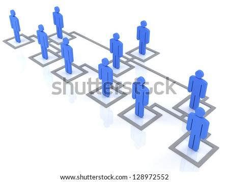 blue group of people standing on the organization chart - stock photo