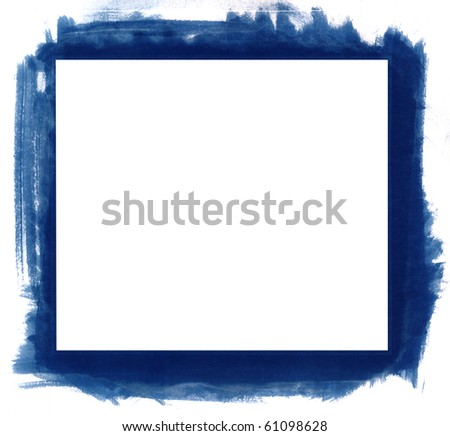 Blue grunge abstract watercolour frame with space for your text or image. All elements painted by me. - stock photo