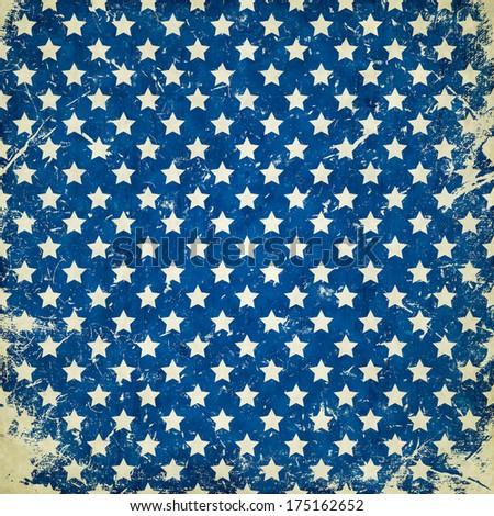 blue grunge background with stars - stock photo