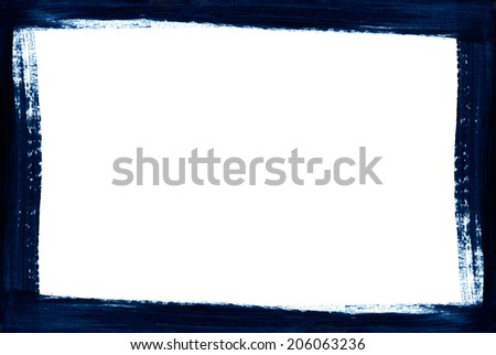 Blue Grunge Frame. Hand drawn illustration. - stock photo