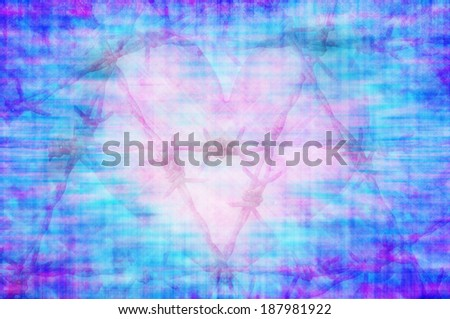 blue grunge heart abstract background - stock photo