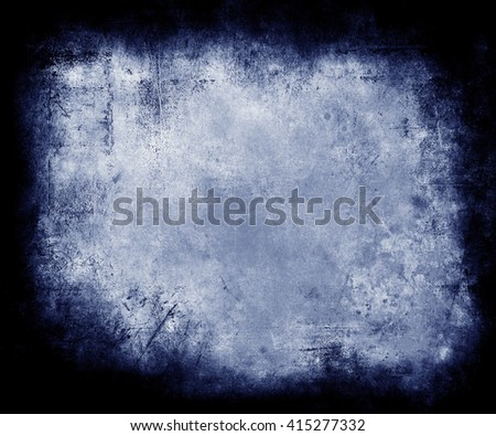 Blue Grunge Texture Background With Frame, abstract scratched background with faded central area for your text or picture - stock photo