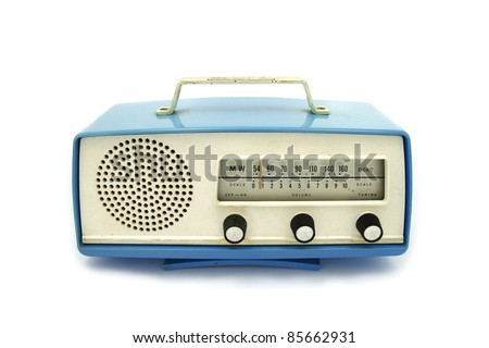 Blue grungy retro radio on  isolated white background