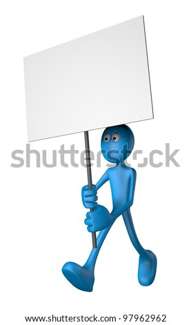 blue guy and blank banner - 3d illustration - stock photo