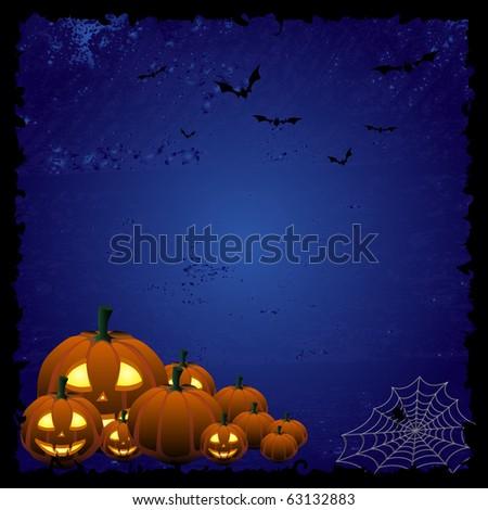 Blue Halloween background - stock photo