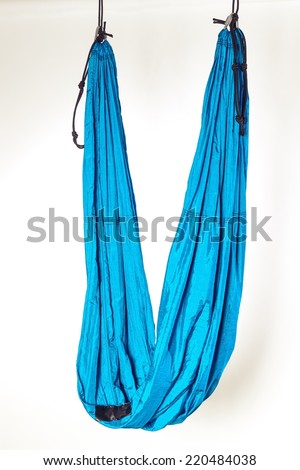 blue hammock for anti gravity yoga exercises  blue hammock antigravity yoga exercises stock photo 220484038      rh   shutterstock