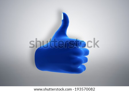 Blue hand gesture showing OK, like, agree. Social media, internet, modern communication concepts - stock photo
