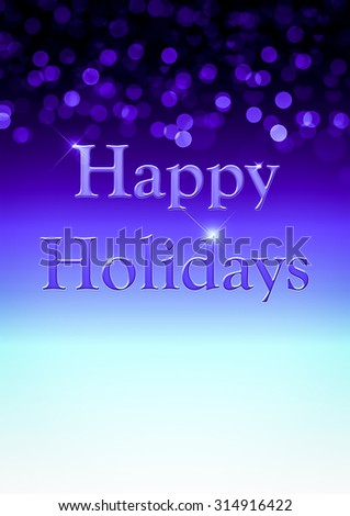 Blue Happy Holidays Background with unfocused bokeh and copy space. - stock photo