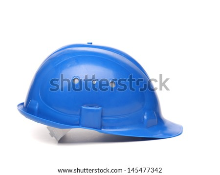 Blue hard hat isolated on a white background - stock photo