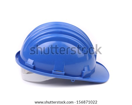 Blue hard hat side view. Isolated on a white background. - stock photo