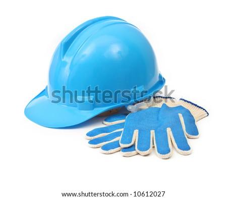 blue hardhat and gloves isolated on white background - stock photo
