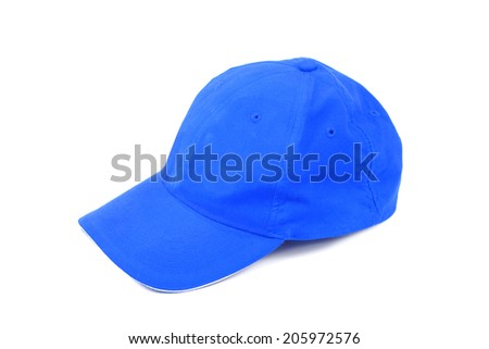 blue hat isolated on white - stock photo