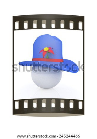 Blue hat on a blue hat with fantastic flower on white background. 3d. The film strip - stock photo