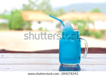 Blue Hawaiian cocktail - stock photo