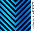 Blue hazard stripes pattern that is pointing in a downward direction. - stock photo