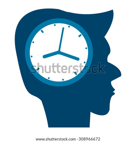 Blue Head With Clock Infographics Flat Icon, Sign Isolated on White Background
