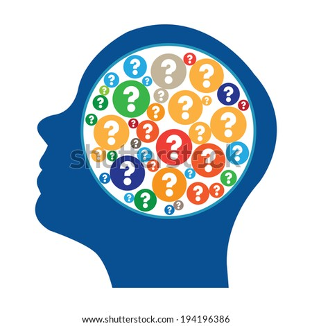 Blue Head With Group of Colorful Question Mark Icon in Brain Isolated on White Background - stock photo