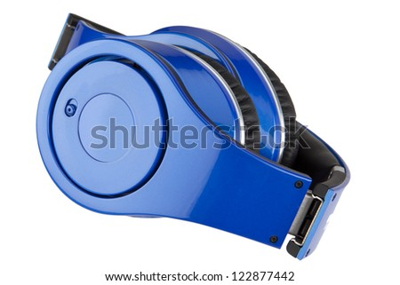 Blue headphones on the white background