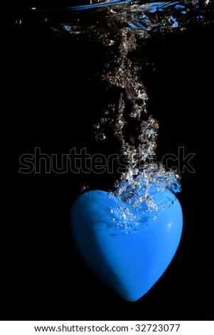Blue heart underwater